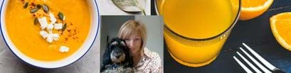 Hannah Jackson and soup and drink and dog