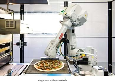 robot making pizza