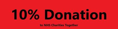 red sign with 10% donation for NHS charities written in black