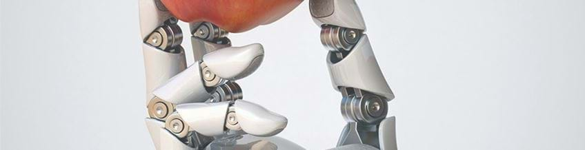 Robot hand holding an apple