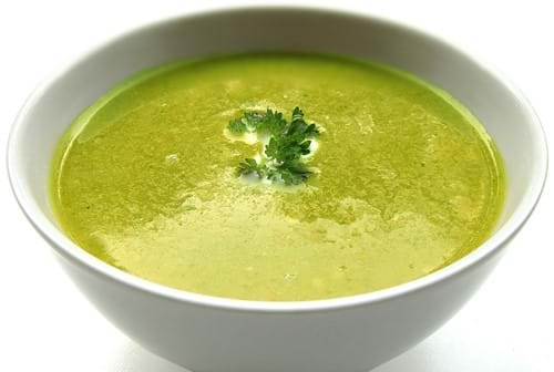 Green bowl of soup