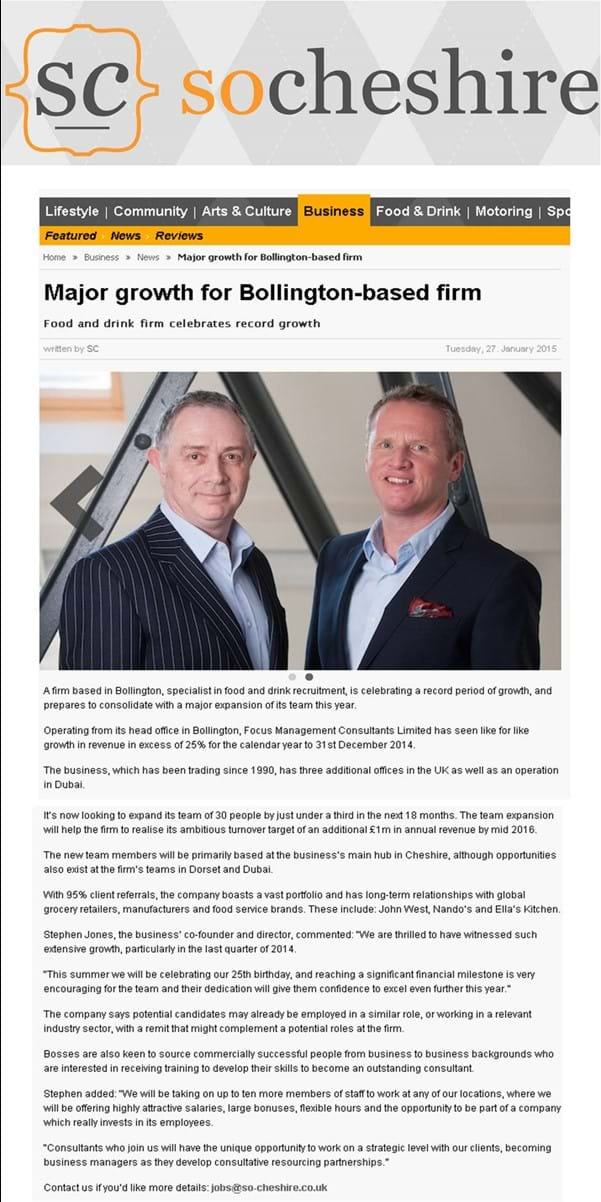 So Cheshire press release - Focus Management's growth
