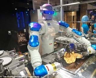 AI robot making food